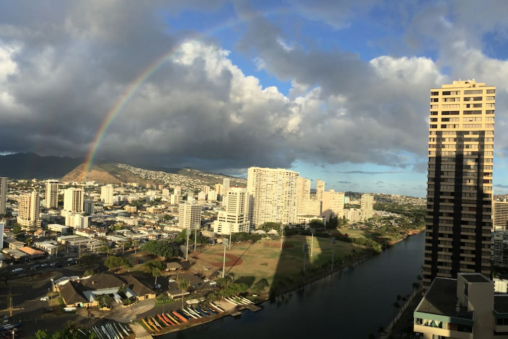 Rainbow sighting is very frequent from the unit, but it rarely rains at Waikiki!