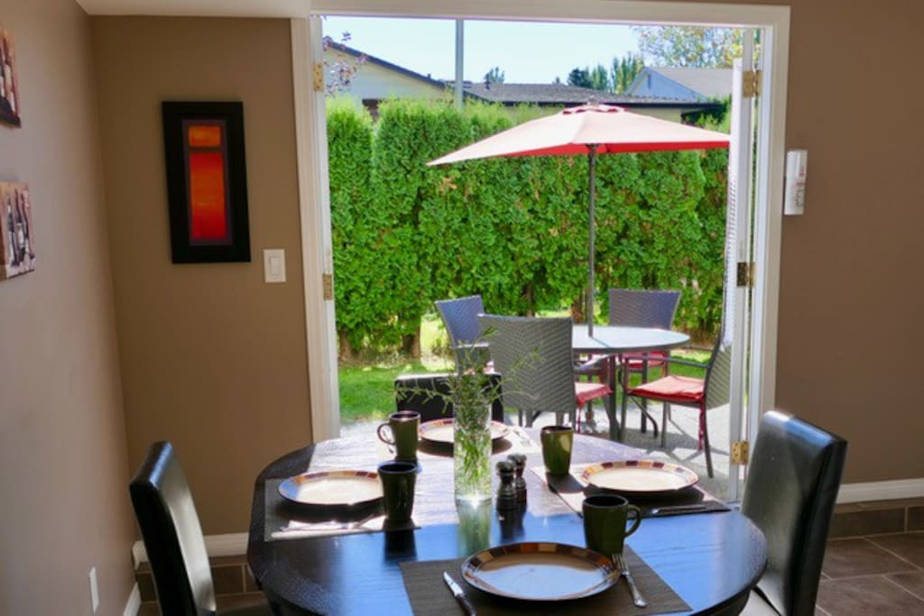 Kitchen has direct access to a private patio area for your convenience