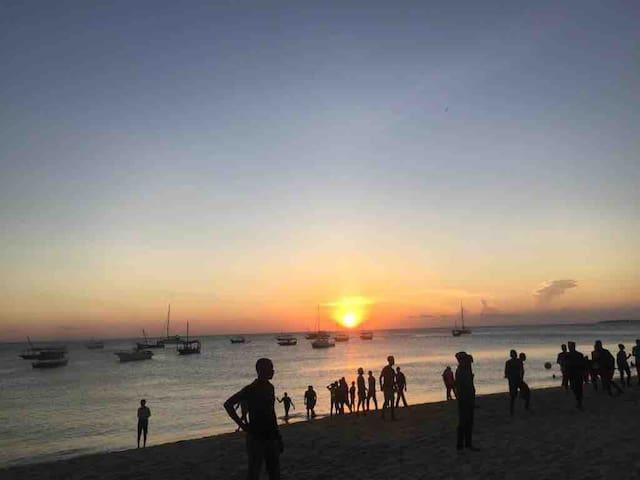 Sunset at shangani beach one minute away