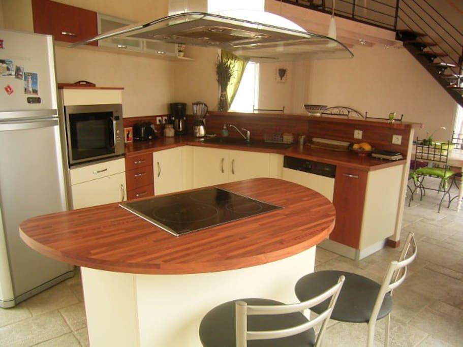 The kitchen with wash machine, micro-waves, fridge ****