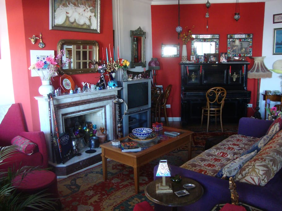 The Living room is elegant with beautiful objects and antiques. The room also has two large windows facing Bosphorus.