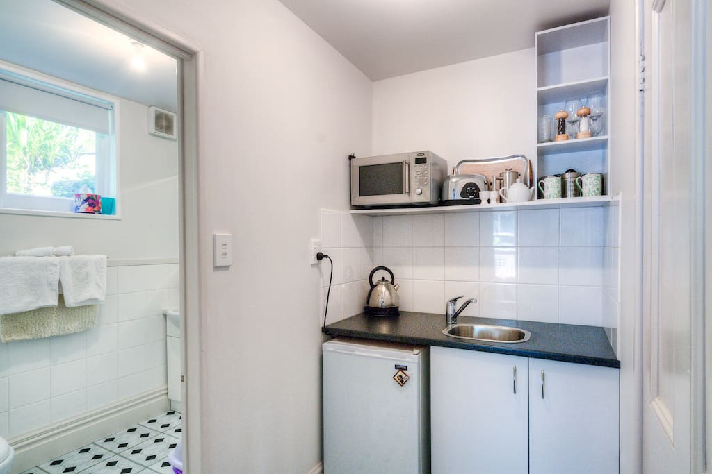 Fantail kitchenette and bathroom.