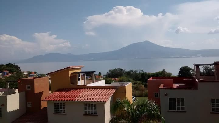Unique view of Lake Chapala on terrace