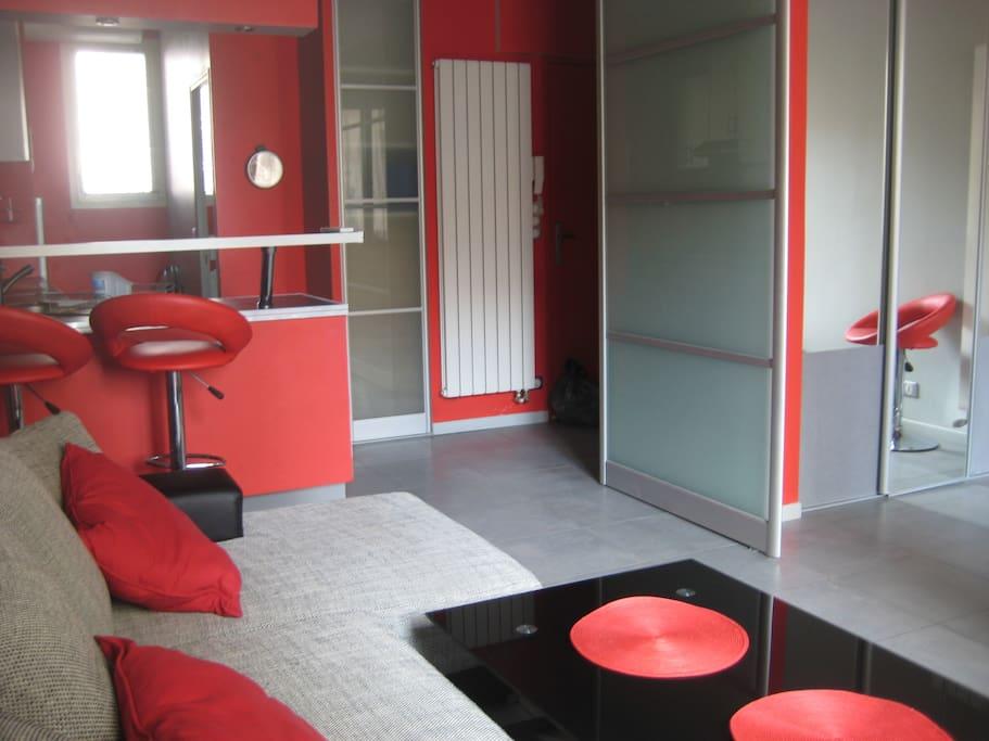 Salon + entrée + la porte coulissante entre le salon et la chambre.