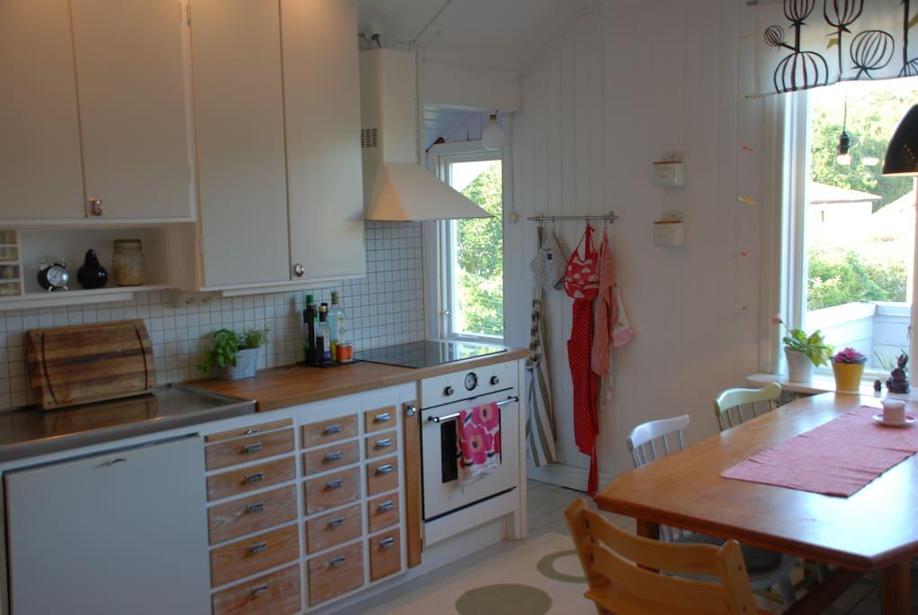 Romantiskt kök med plats för 6 personer/Kitchen with seats för 6 persons