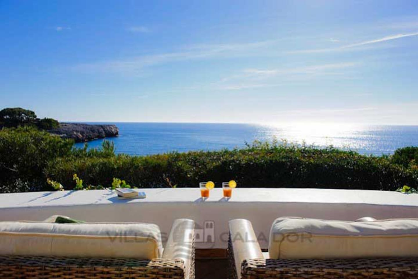 Main terrace with views to Cala Gran, Cala Dor , es Forti and the open sea.