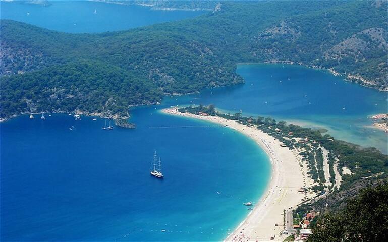 Oludeniz, the nearest beach, 15 minutes by car.