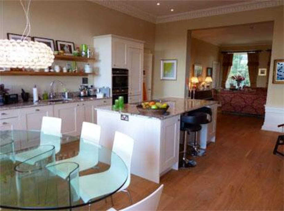 kitchen through to Drawing room
