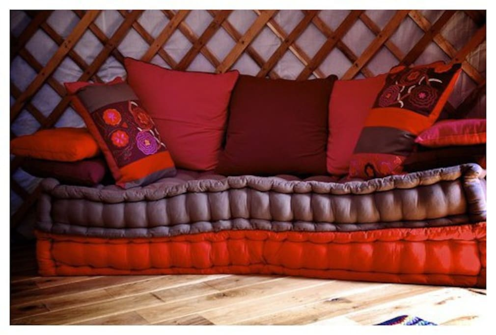 Sofa bed offers posiblity to sleep up to 2 extra persons in the yurt. Ideal for a family, and children just LOVE it!