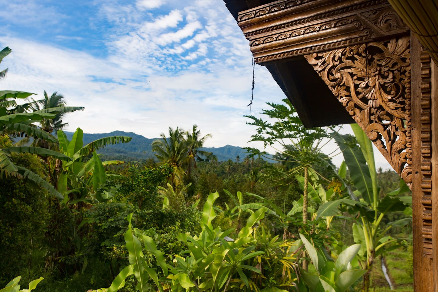 nestled in the mountains is this beautiful carved teak house