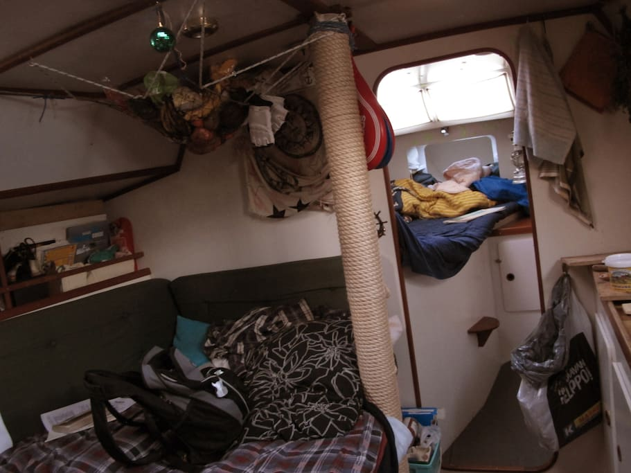 lounge (for 2 people to sleep) and captain (my) cabin room in front