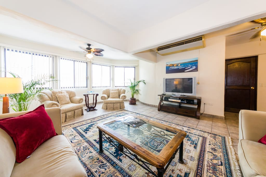 The space is bright and airy.  The large living area is comfortable for several.
