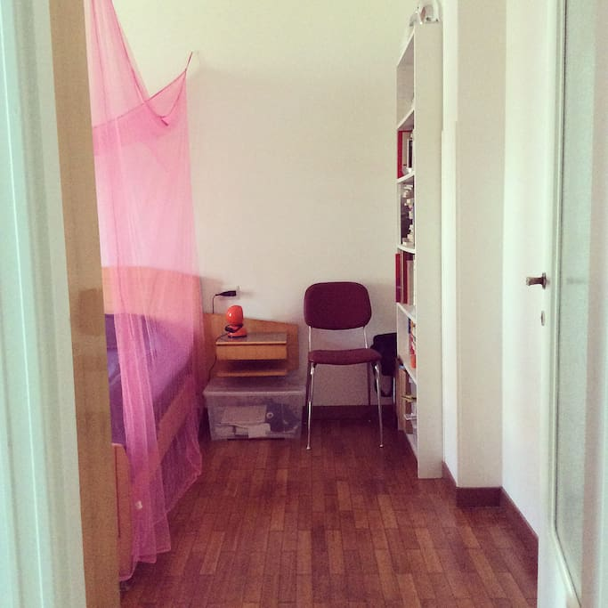 entrance to the bedroom with the particular pink mosquito net over the bed