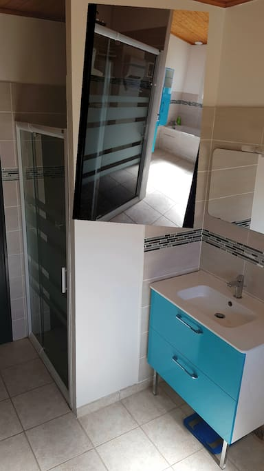 Salle de bain avec douche, baignoire et un lavabo