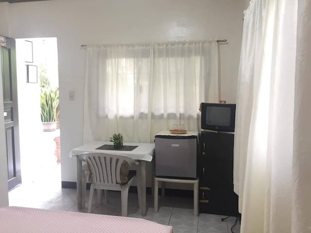 Table, fridge and television