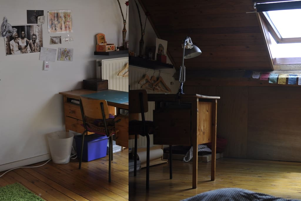 chambre de 20m2, calme et agréable. Meublée; lit 2 places, bureau, rangements et draps à disposition.