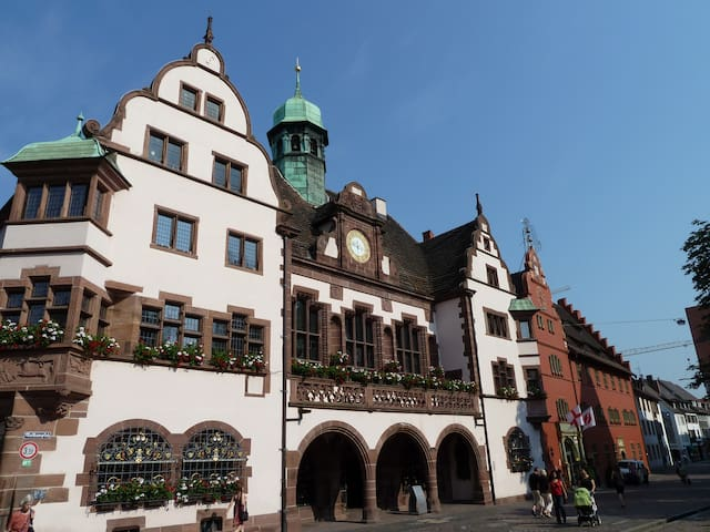 At historic Townhallsquare Freiburg