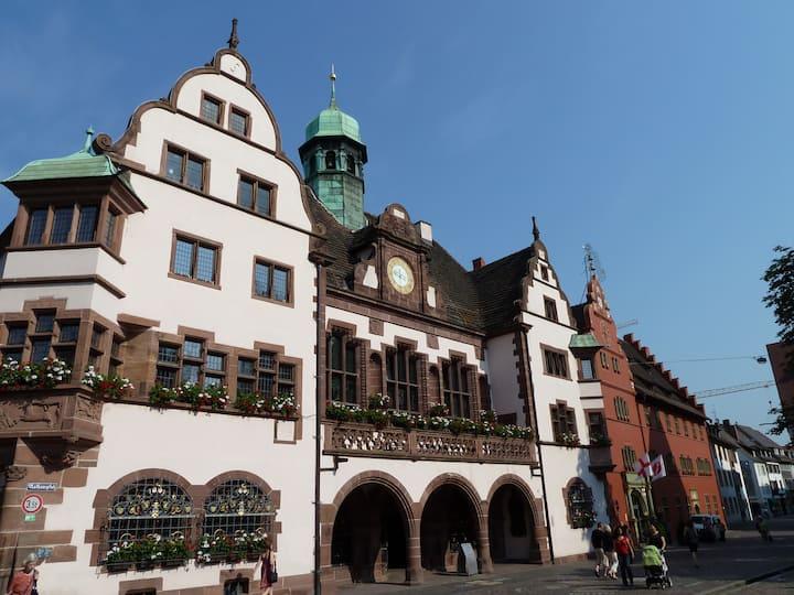 At historic Townhallsquare Freiburg