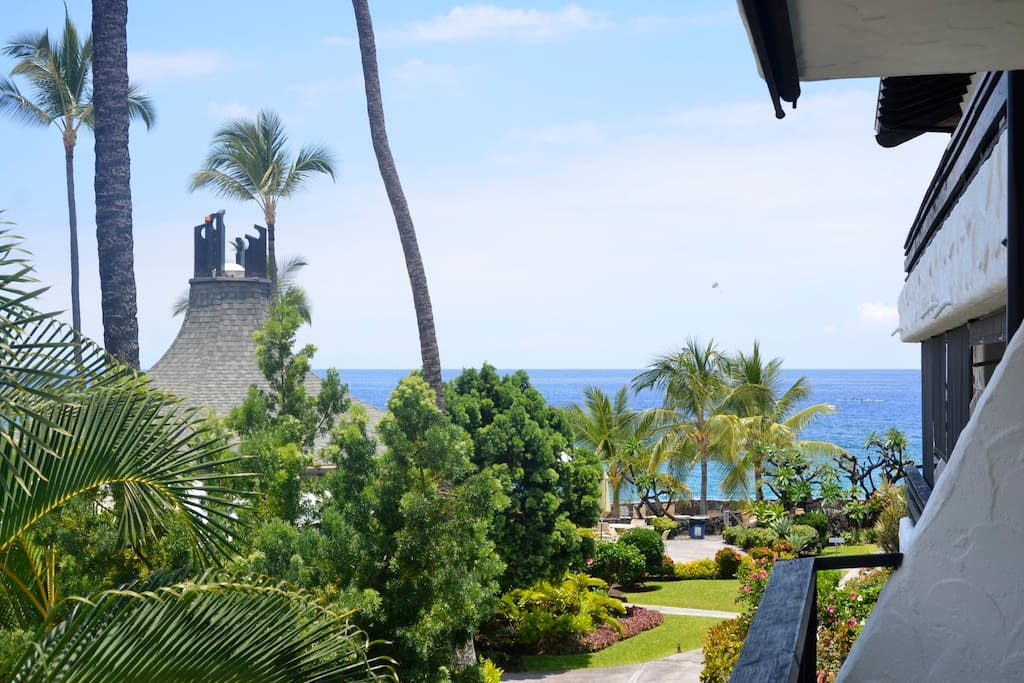 View of the ocean from the lanai, you can hear the ocean and the waterfall