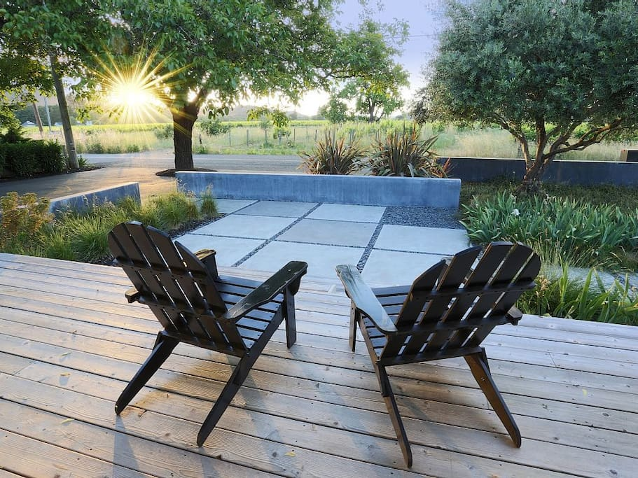 Relax on the front deck and watch the sun set over the vineyards.