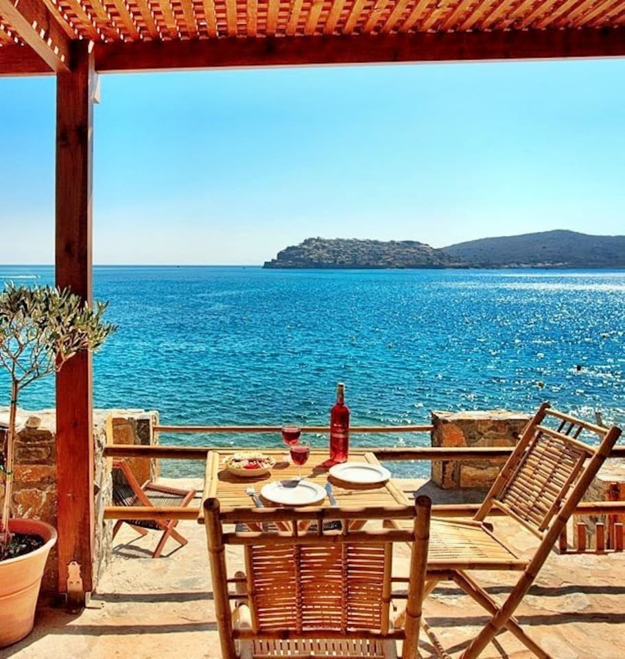 View from the private terrace of your cottage over to Spinalonga fortress