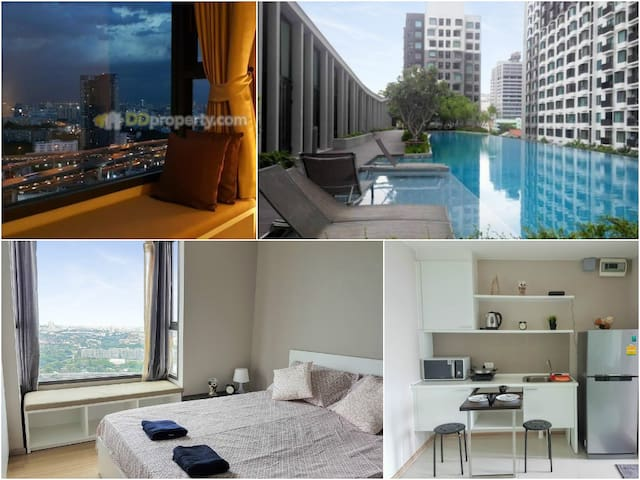 Amazing view 3min to Airportlink Pool WIFI - Bangkok - Daire