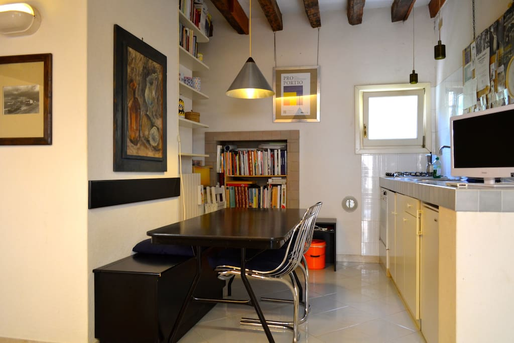 The apartment is a fully restored modern studio with a fully fitted kitchen