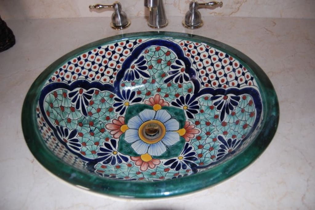 Hand painted Talevera sinks imported from Mexico