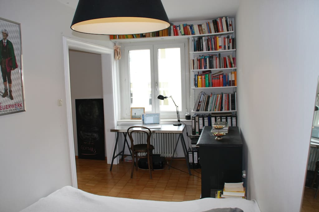 bedroom with small working space