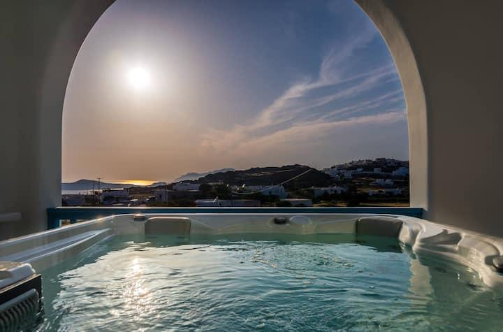 Cycladic Honeymoon Luxury Suite with hot tub