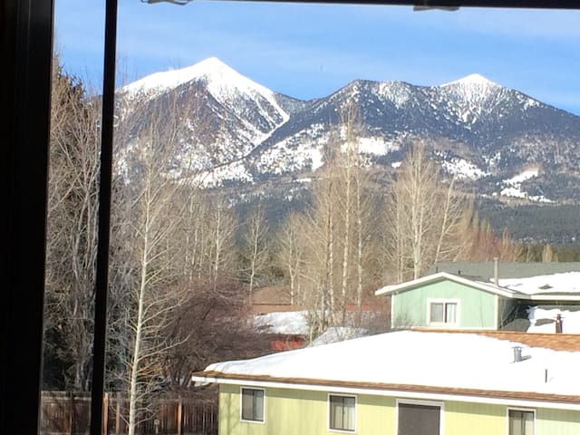 The mountain topped with snow. View from the room.