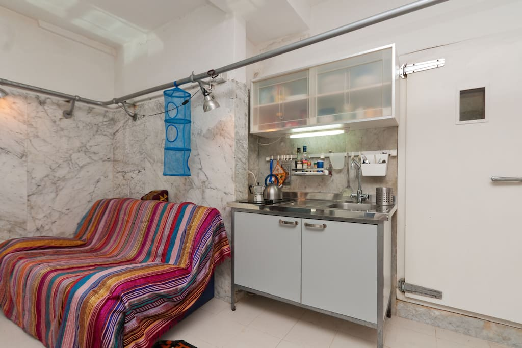 Sofa bed and kitchenette