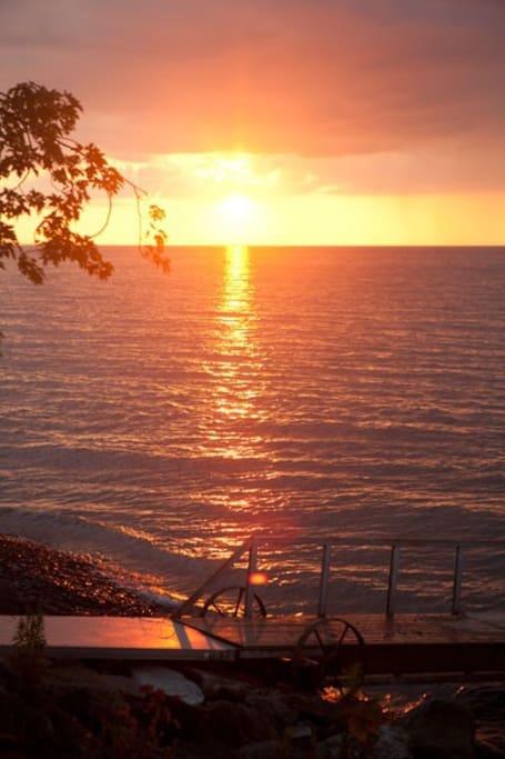 Beautiful sunset views by the lake.