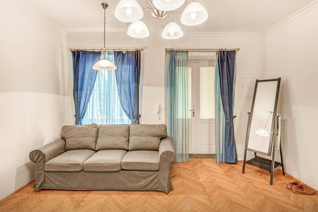 Bright and spacious living room equipped with new pull-out sofa