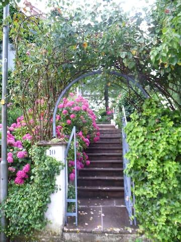 Treppe zu Haus und Garten