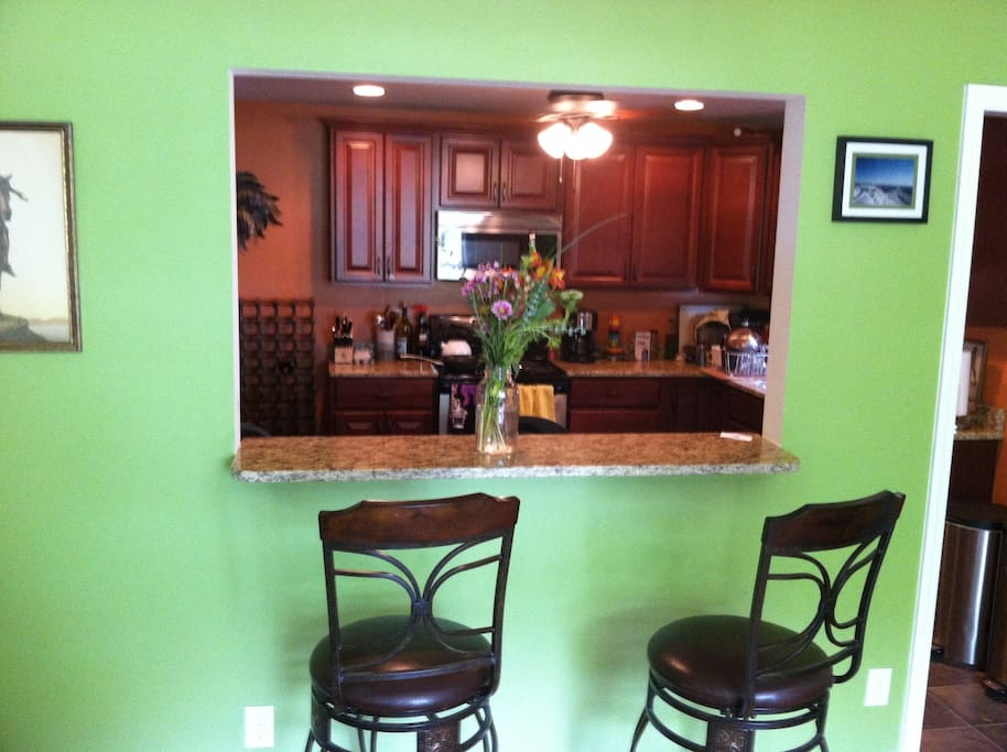 Bar seating in living room.