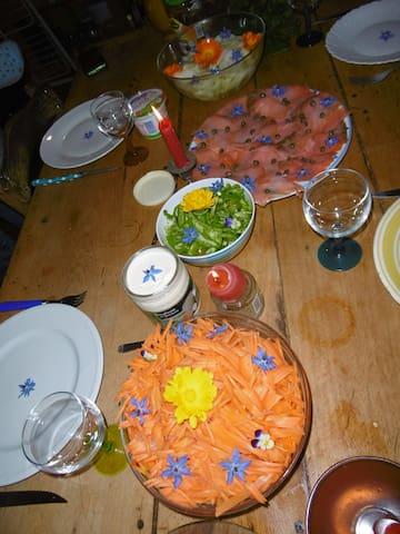 Salmon, salads and edible flowers