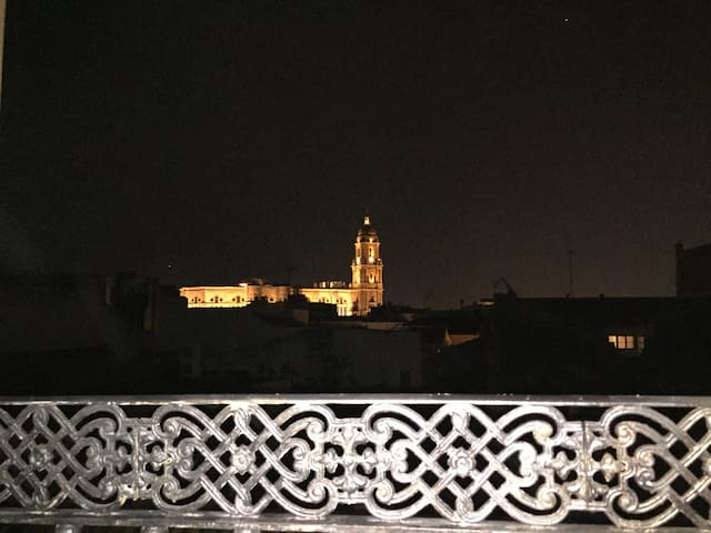 Vista de salón por la noche con impresionantes vistas de la Catedral iluminada y el cielo estrellado de Málaga