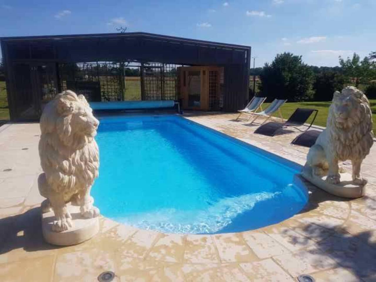 L'espace piscine de 4m20 sur 9m50 profondeur de 1m50 avec escalier romain chauffée a 30 degré, ses transats pour se relaxer , son salon de jardin , son jacuzzi et son sauna . Le dôme s'ouvre ou se ferme selon le climat , il est aussi chauffée l'hiver