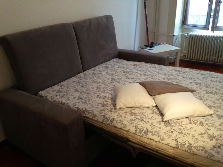 Extended sofa bed, very comfortable for a goodnight sleep
