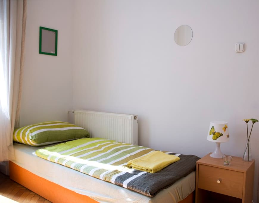 ROOM4: accomodates max. 5 people (double bed+2 single beds or 5 single beds)