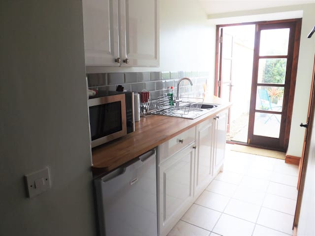 New Galley Kitchen with combination microwave, toaster, fridge, hob....