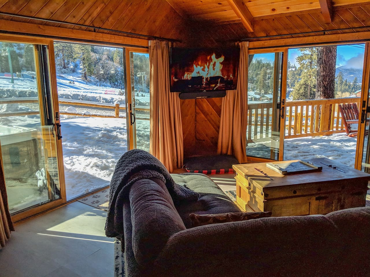 Best spot on the mountain in the Game Room. Lounge on the couch and watch the skiers go by. The hot tub (just outside) is the perfect place to relax after a day on the slopes.