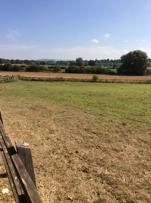 View to Bredon Hill from right of driveway.