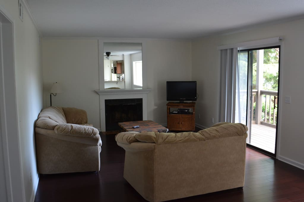1200 sq ft condo flat. Nice open living room with big comfy couches and lots of natural light.