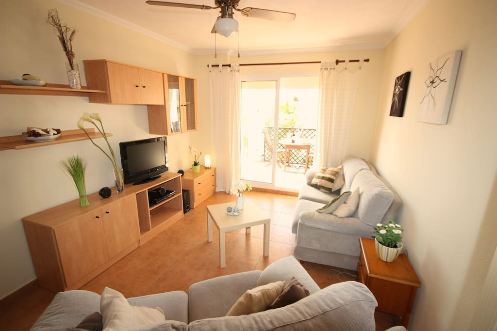 Large living room with Satellite TV, DVD and surround sound. Complimentary WiFi