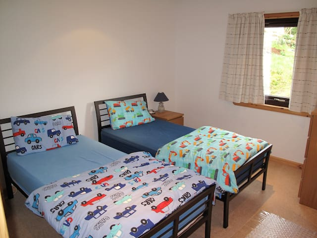 The twin room made up for children.