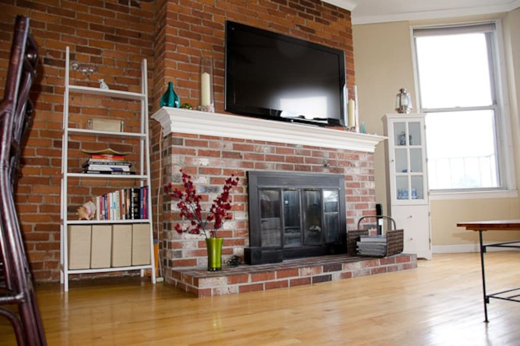 Fireplace and Big Screen TV.