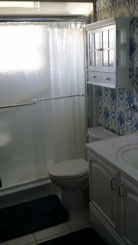 2nd bath with shower and seat in shower