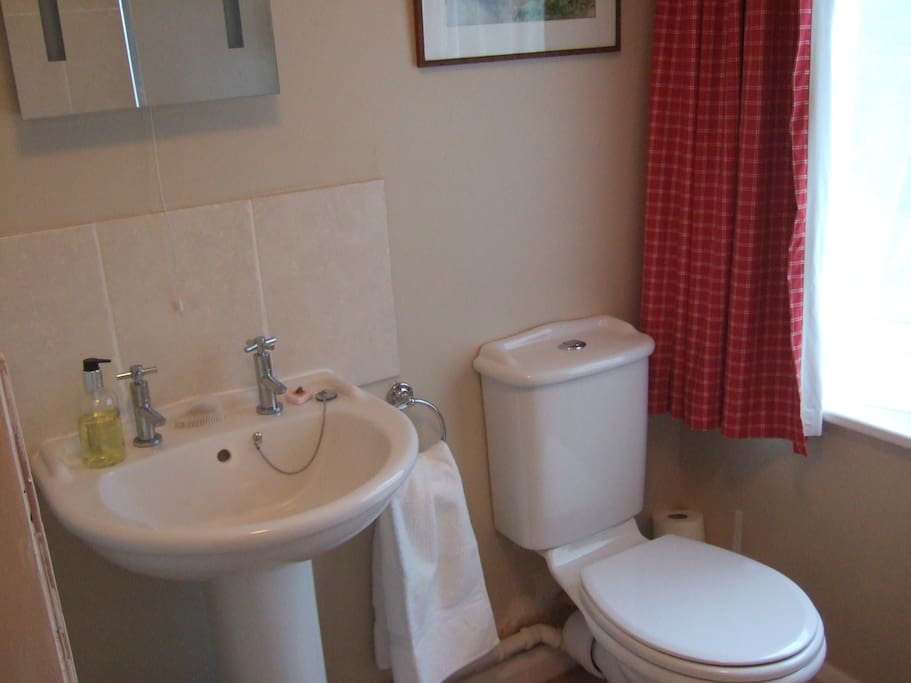 The Rose Room bathroom is carpeted with bath with shower over.